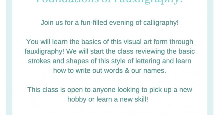 Calligraphy Workshop – April 8th